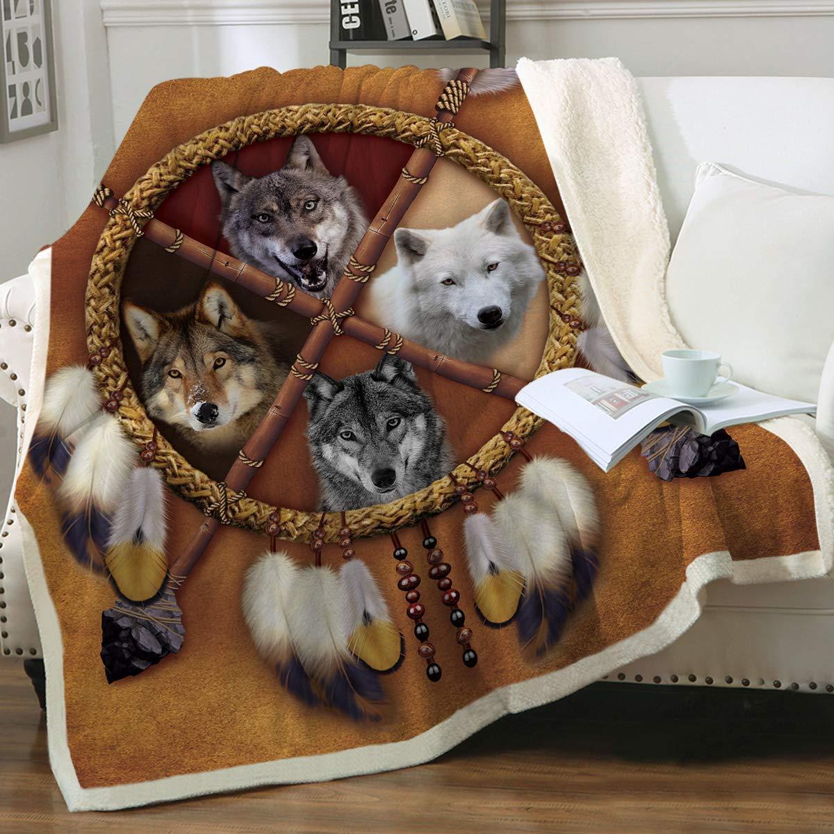 """Sleepwish Wolf Dream Catcher Blanket 4 Wolves Dreamcatcher Fleece Blanket Sherpa Blankets Blanket (Throw 50""""x60"""")"""