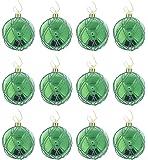 "Elegant Holiday Christmas Glitter Shiny Shimmering Ball Ornaments, Green, Medium, 12 Pack, 2.5"""