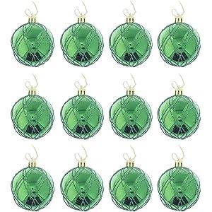 elegant holiday christmas glitter shiny shimmering ball ornaments green medium 12 pack