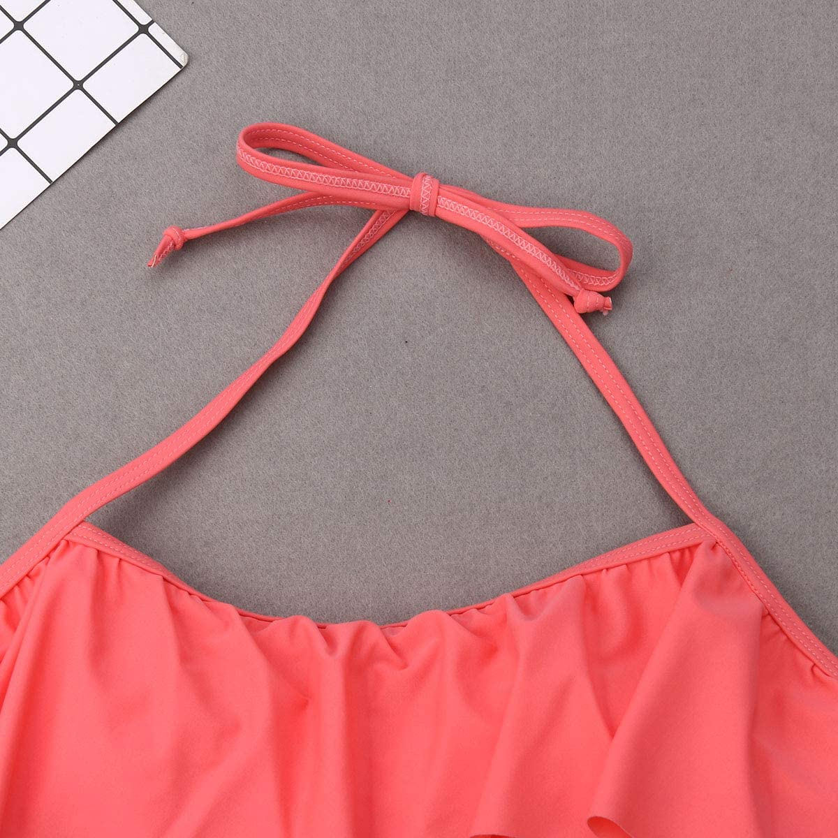 Family Matching Mommy and Girl Halter Ruffle Bandage Bikini Strawberry Printed Swimwear Dad and Boy Swim Surf Trunks