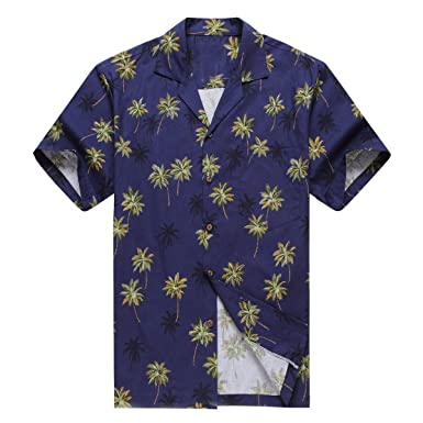87e924fc Made in Hawaii Men's Hawaiian Shirt Aloha Shirt Navy with Green Palm: Amazon .co.uk: Clothing