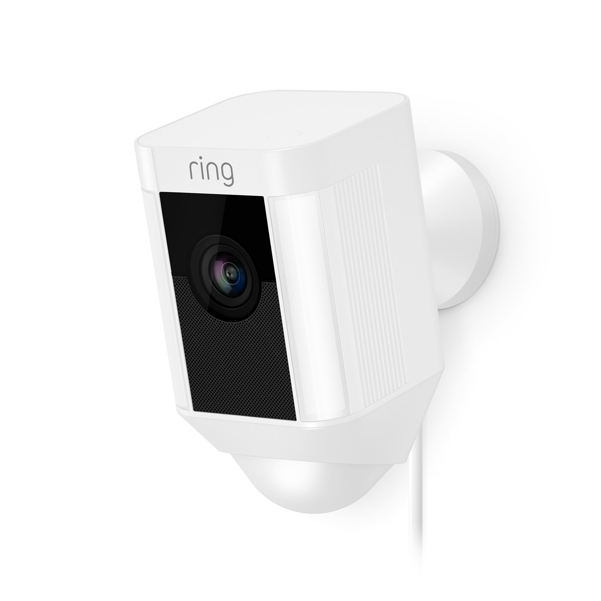 Ring Spotlight Cam Wired: Plugged-in HD security camera with built-in spotlights, two-way talk and a siren alarm, White by Ring