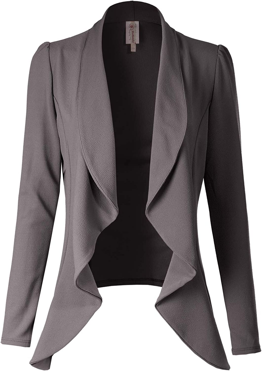 S-3X Made in USA Solid Formal Style Open Front Long Sleeves Blazer MixMatchy Womens