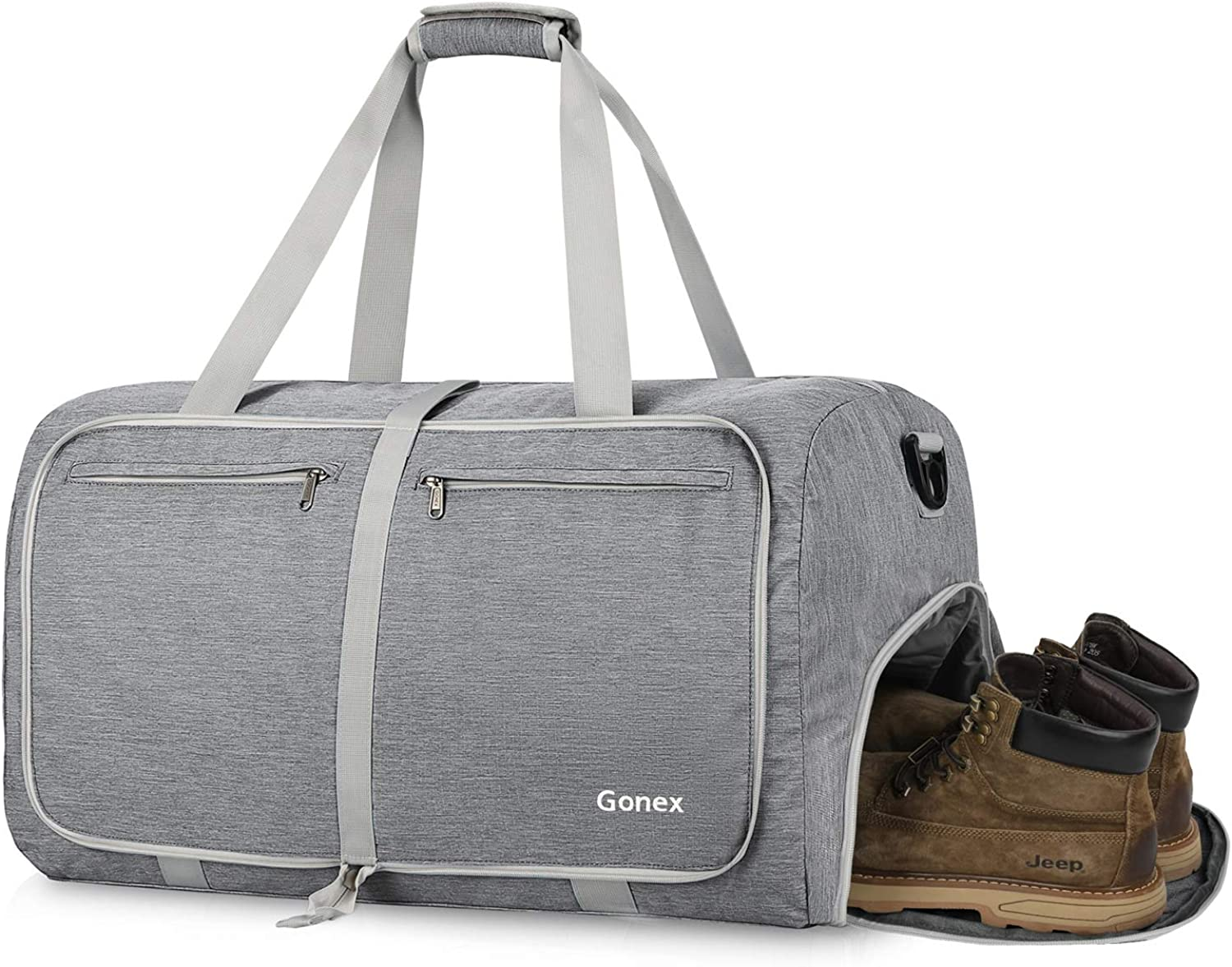 Gonex Travel Duffel Bag Gym Bag Workout Bags with Shoe Compartment, 65L Foldable Sports Duffle Carry On Bag Weekender Bag for Gym Shopping Home Storage
