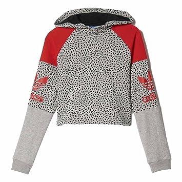 adidas Sudadera Capucha Junior Short Hood Gris/Rojo Talla: 117 a 122 cm Altura - de 6 a 7 años: Amazon.es: Ropa y accesorios