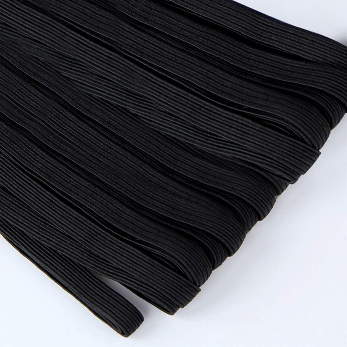 Flat Elastic Band Heavy Stretch High Elasticity Knit Elastic Band for Sewing Crafting Black, 200 Yards 3mm