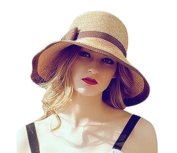 Cuddty Bowknot Cap Sombrero Panamá para Mujer Plegable Verano Mujeres Sol  Visera Gorro de Viaje Playa Senderismo Headwear 39c4efd6ab7
