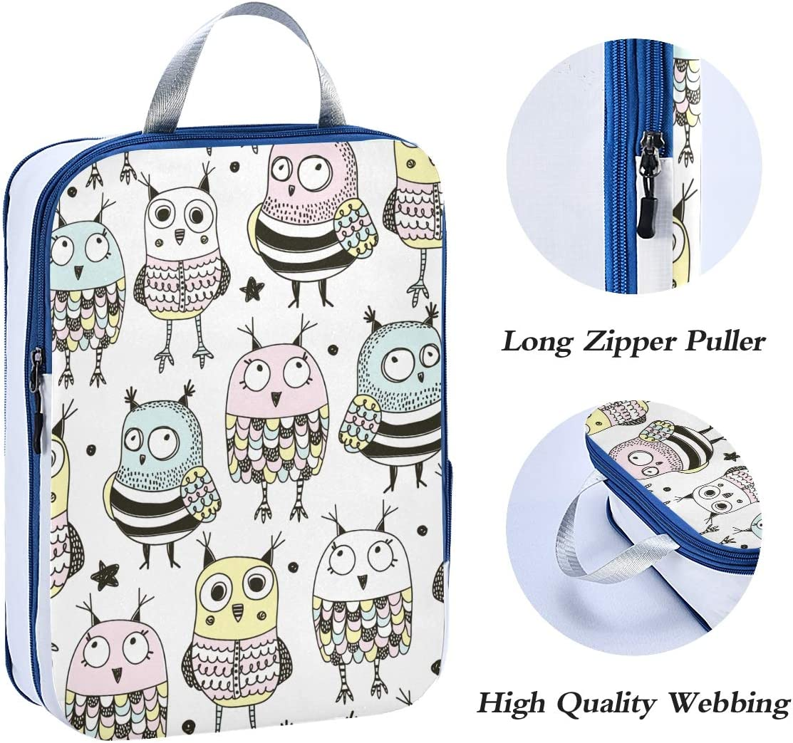 Cute Doodle Owls 3 Set Packing Cubes,2 Various Sizes Travel Luggage Packing Organizers m1