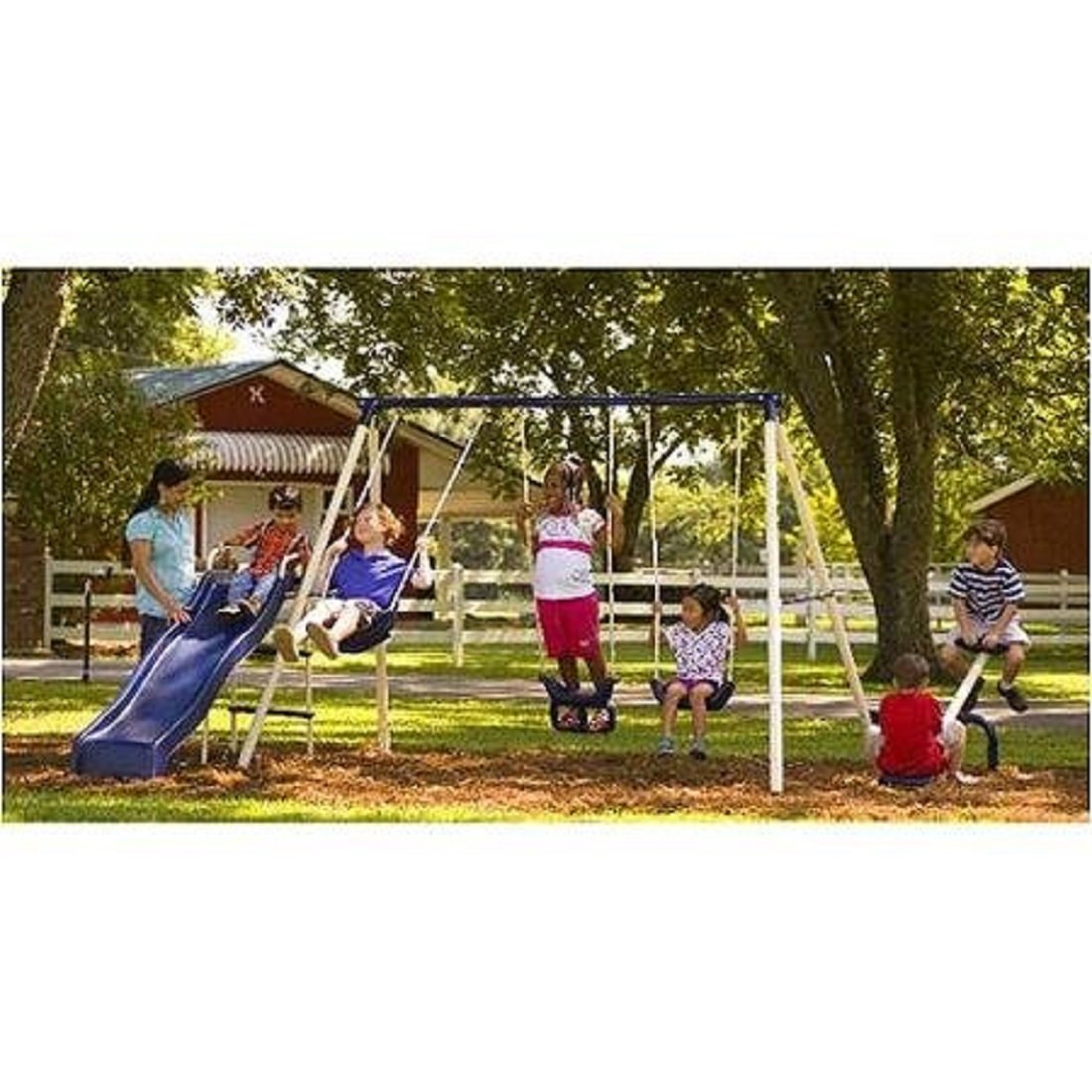 Flexible Flyer Triple Fun II Metal Swing Set by Flexible Flyer