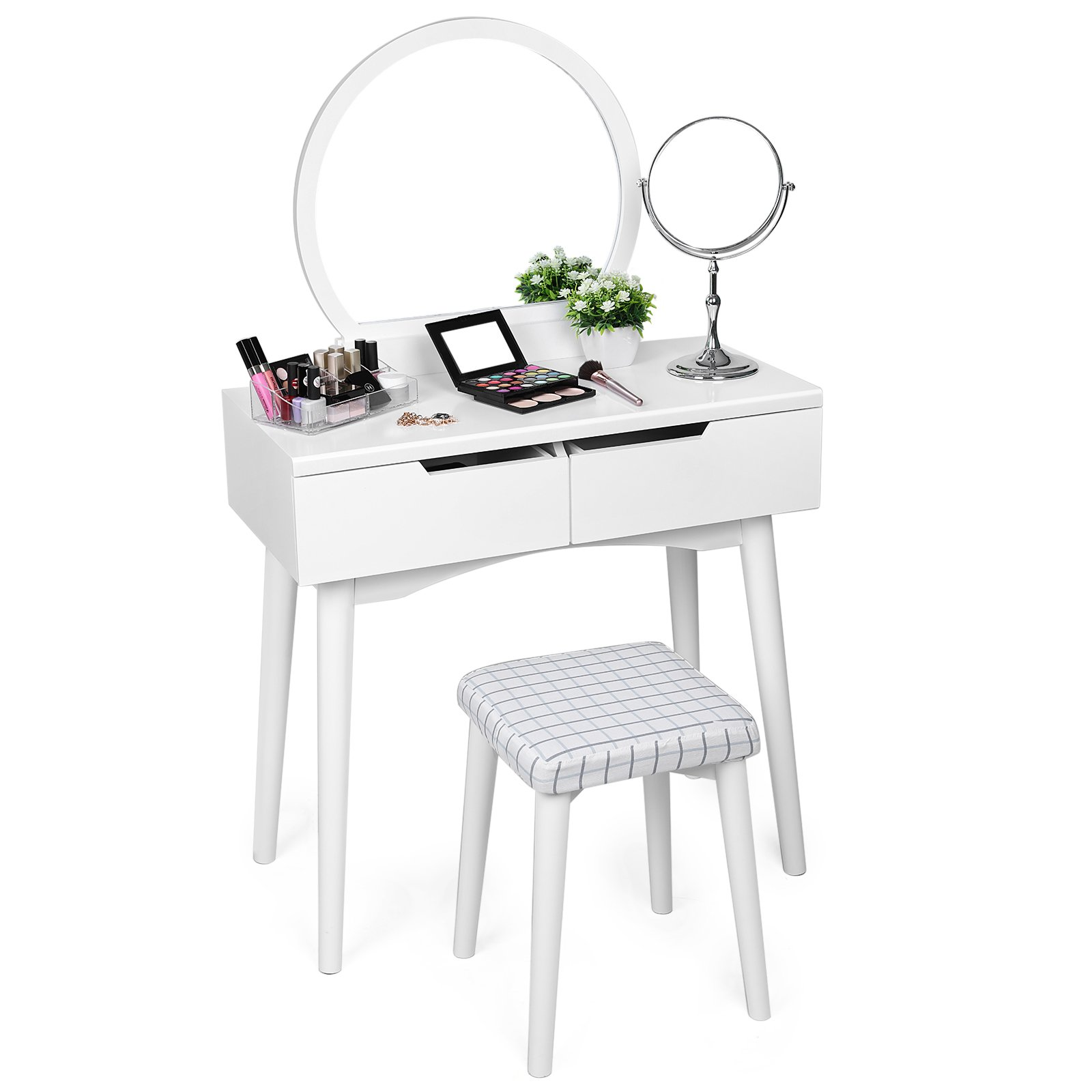SONGMICS Vanity Table Set with Mirror 2 Large Sliding Drawers Makeup Dressing Table with Cushioned Stool White URDT11W by SONGMICS
