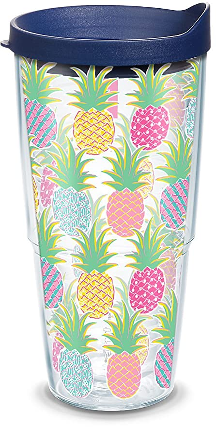 c2d2837faaa Tervis 1267724 Simply Southern Colorful Pineapples 24 oz Tumbler with lid  24oz Clear