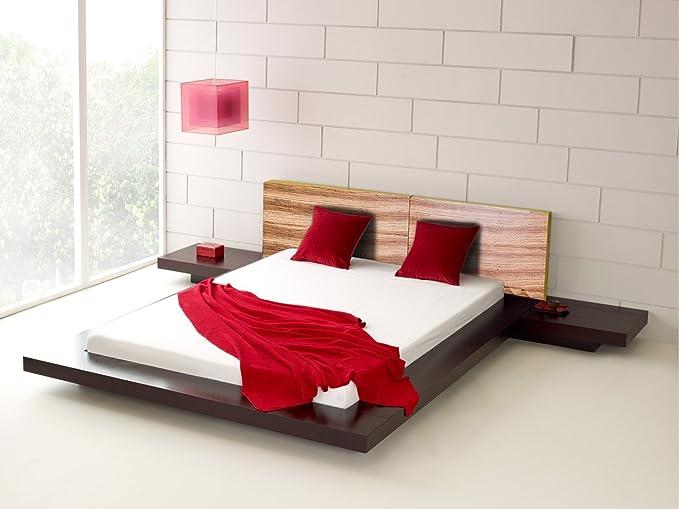 Matisse Fujian Modern Platform Bed + 2 Night Stands King Size (Two Tone).