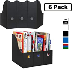 Magazine File Holder (Set of 6, Black), Sturdy Cardboard Magazine Holders, Folder Holder, Magazine Storage Box, Book Bins, Desk File Holder Organizers and Storage