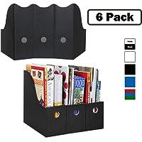 Dunwell Magazine File Holder (Set of 6, Black), Sturdy Cardboard Magazine Holders, Folder Holder, Magazine Storage Box…
