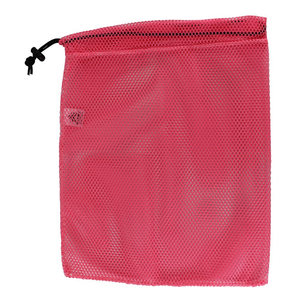 SGT KNOTS Mesh Bag (Medium) 550 Paracord Drawstring Bag - Ventilated Washable Reusable Stuff Sack for Laundry, Gym Clothes, Swimming, Camping, Diving, Travel (24 inch x 30 inch - Neon Pink)