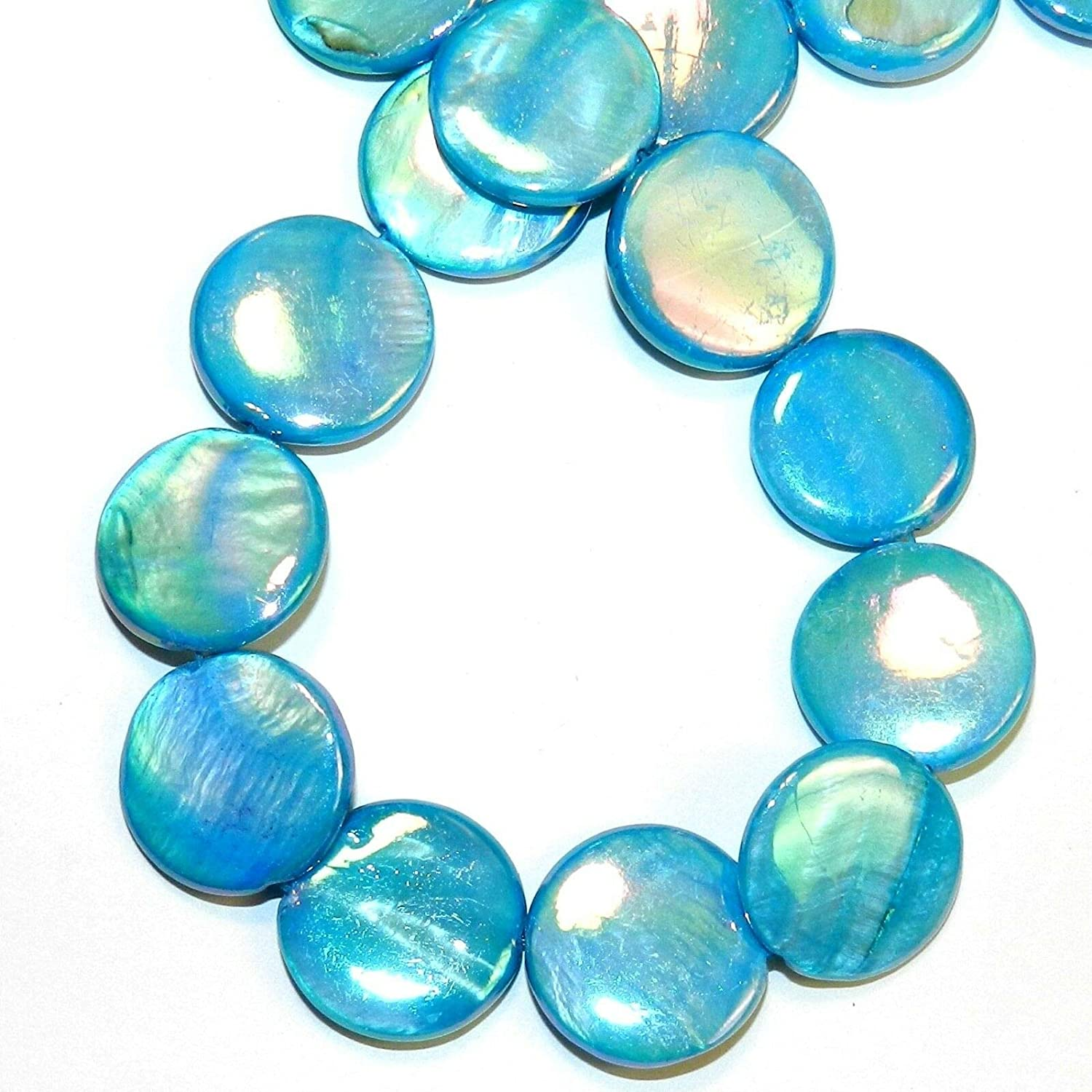 Blue Shell coin Beads 20 mm