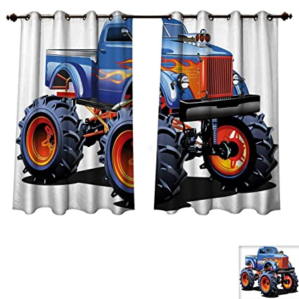 RuppertTextile Man Cave Decor Bedroom Thermal Blackout Curtains Cartoon Monster Truck Huge Tyres Off Road Heavy
