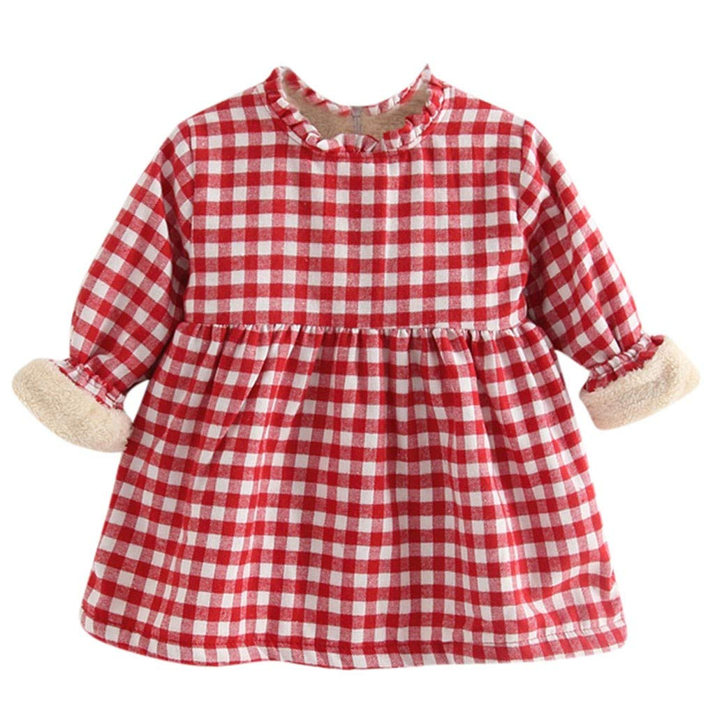 GUTTEAR Toddler Baby Kids Plaid Ruched Thick Warm Princess Dresses Clothes Tops