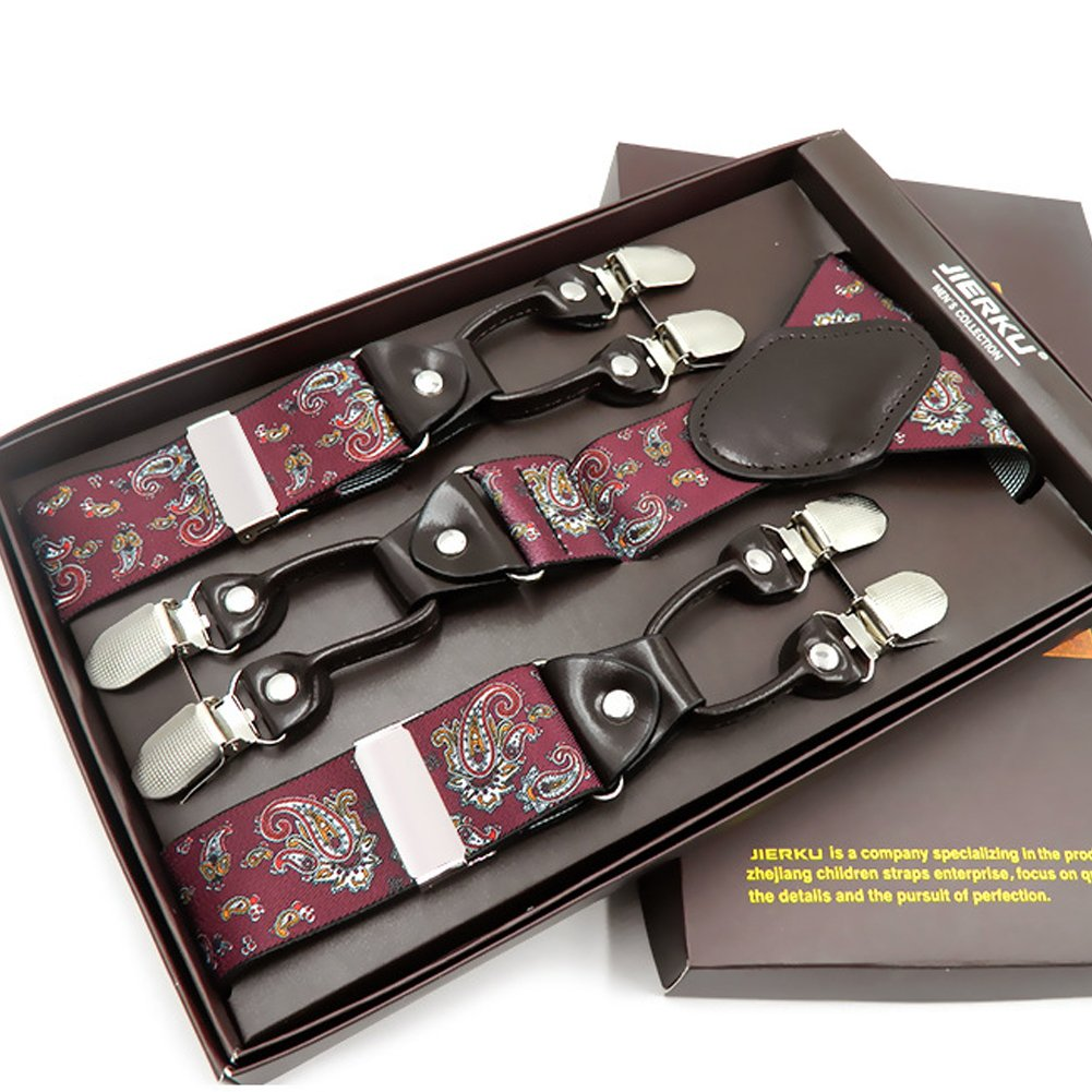 Mens Formal Dress Suspenders Wide Adjustable and Elastic Braces Y Shape with Six Very Strong Clips Gift Box (Burgundy Floral Pattern)