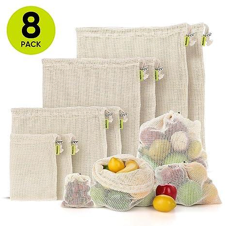 Amazon.com: Bolsas de productos reutilizables, 8 paquetes ...