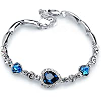 Shining Diva Fashion Non Precious Metal Jewelry Romantic Gift of True Love Titanic Heart Bracelet for Women and Girls (Blue)(9502b)