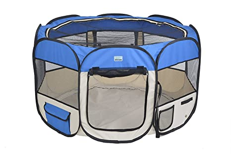 EXPAWLORER 32u0026quot; Puppy Playpen Dog Exercise Kennel Cat Portable Foldable  Pen For Small Medium Pets