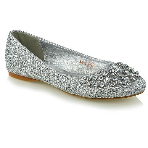 42f63c1bdf7c Womens Bridal Shoes Diamante Glitter Ladies Flats Ballerina Pumps Slip On  Shoes Silver