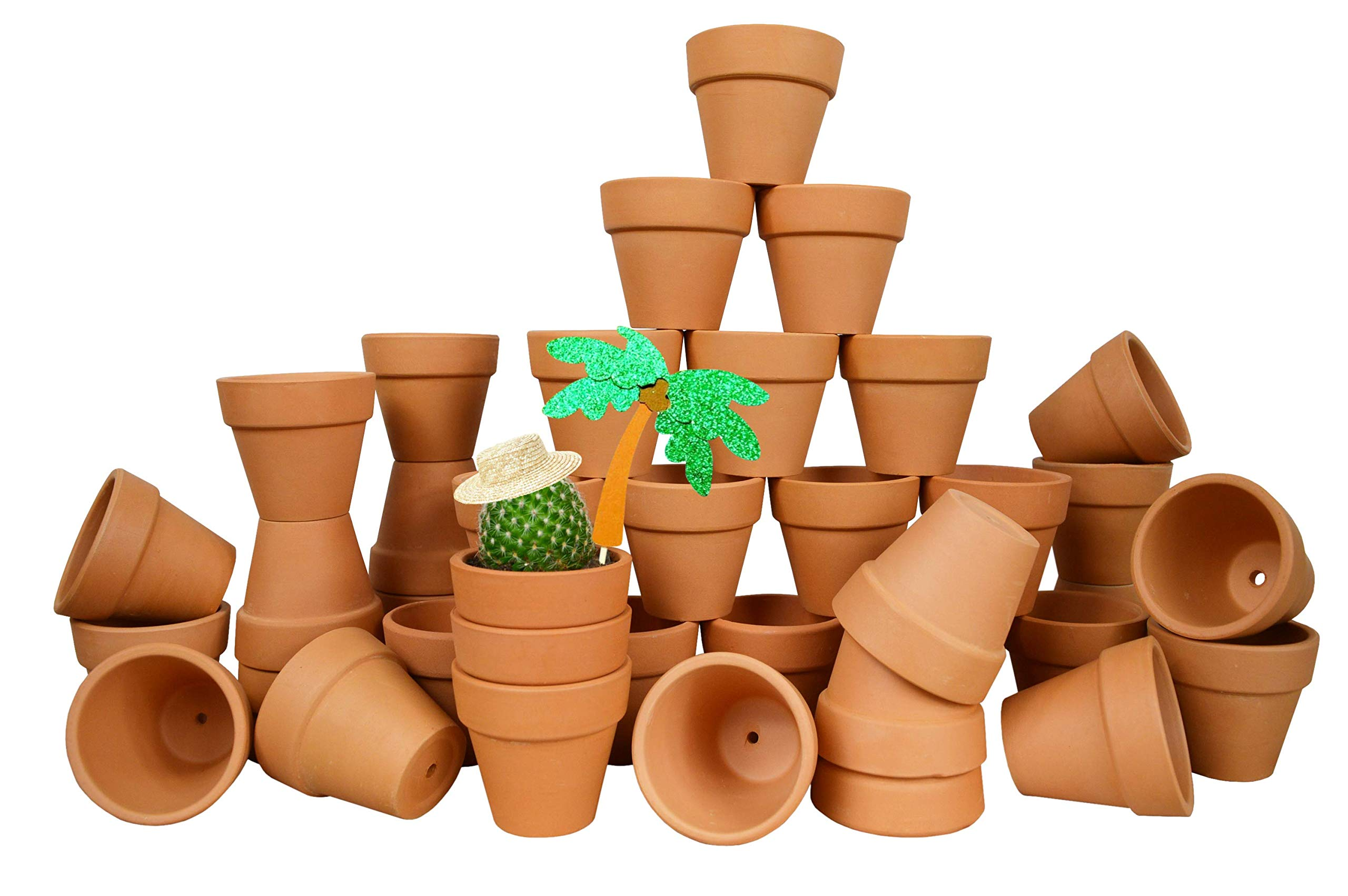 My Urban Crafts 40 Pcs - 2.1'' Mini Clay Pots Small Terracotta Pots Ceramic Pottery Planter Terra Cotta Flower Pot Succulents Nursery Pots Great Window Boxes, Cactus Plants, Crafts, Wedding Favors
