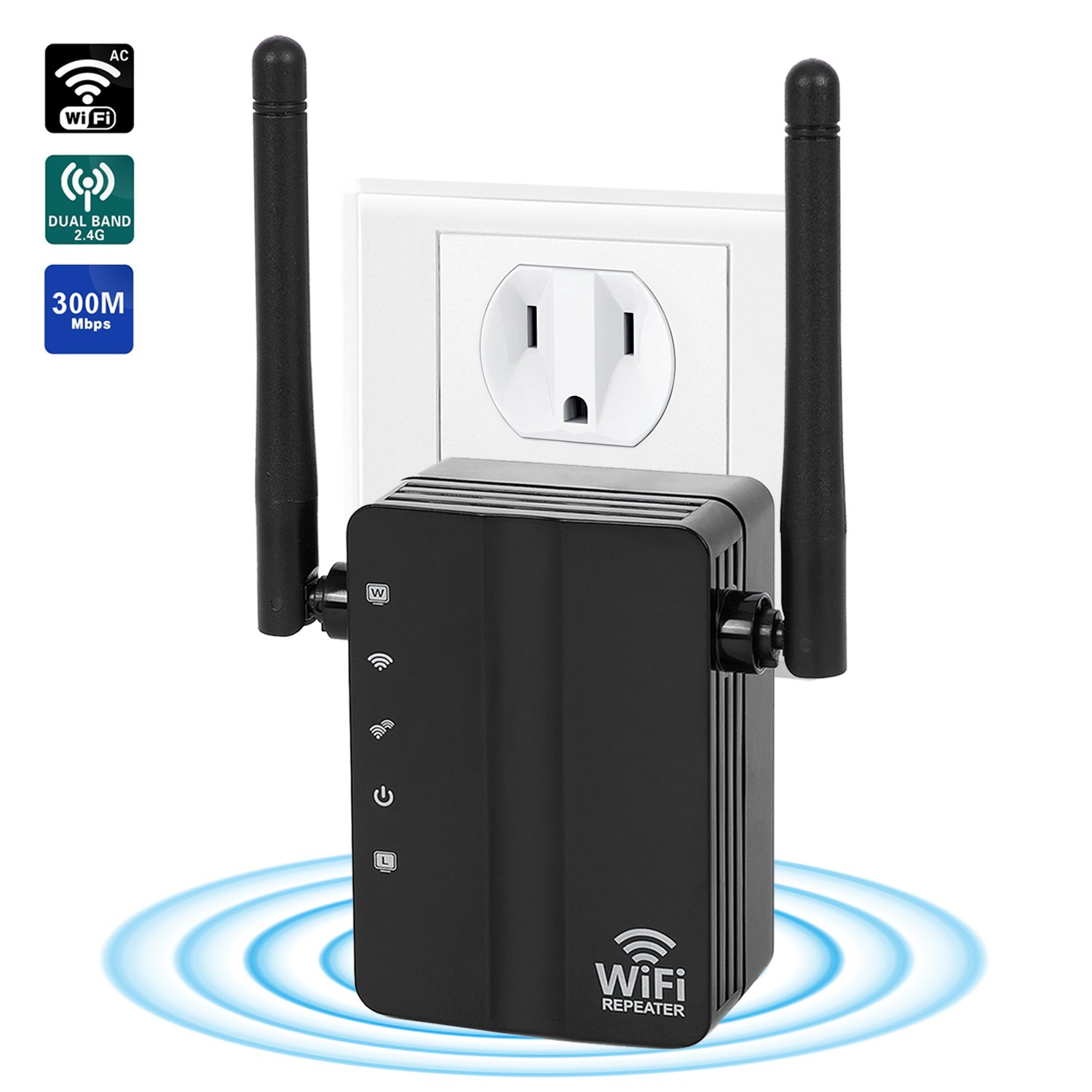 WiFi Range Extender ,300Mbps 2.4G WiFi Repeater Wireless Signal Booster with 360 Degree Full WiFi Covering with High Gain Dual External Antennas High Gain Conventivity  by GuckZahl (Image #1)