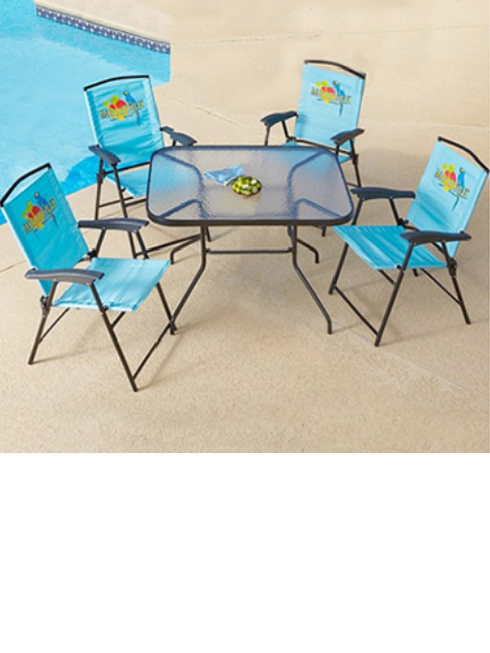 Amazon.com : 5 Pc Outoor Patio Set Folding Table Chairs Margaritaville  Jimmy Buffetu0027s : Outdoor And Patio Furniture Sets : Garden U0026 Outdoor