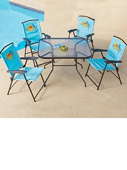 5 Pc Outoor Patio Set Folding Table Chairs Margaritaville Jimmy Buffetu0027s
