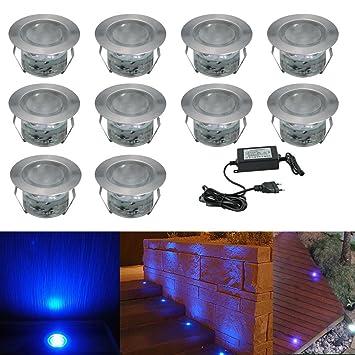 10x Spot LED Éclairage Extérieur Encastrable, IP67 1W Acier Inoxydable Spots  à Encastrer Avec DC