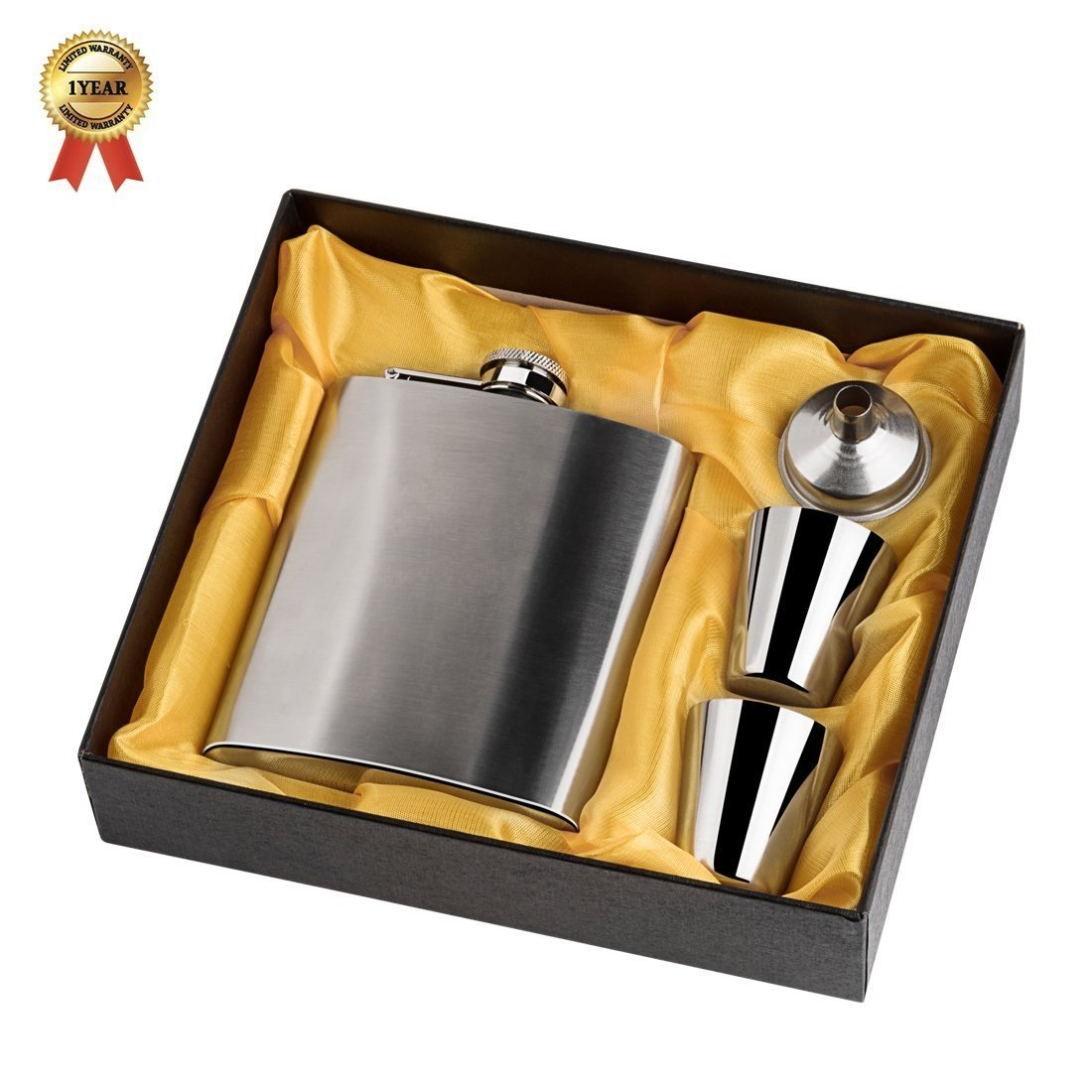 KoKeo_Store Stainless Steel Hip Flask Set with Gift Box 7oz 196ml Hip Flask with Funnel & Shot Cups Stainless Steel Hip Flask Portable Flagon Wine Bottle for Liquor/Wine/Whiskey (Silver)