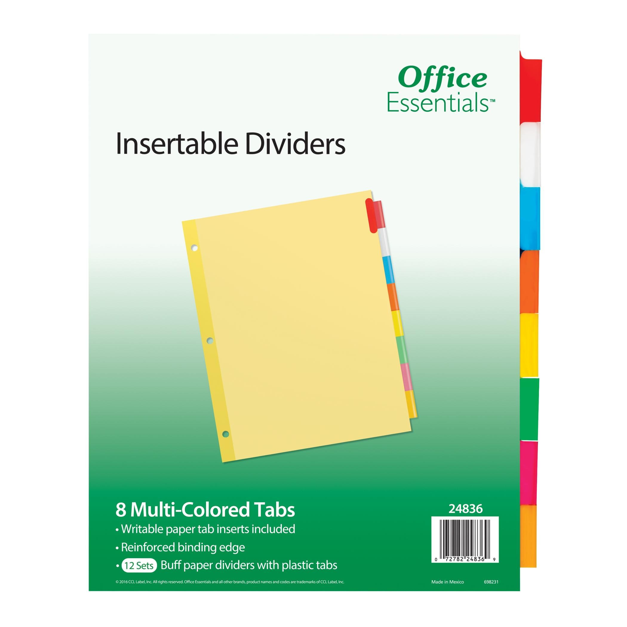 Office Essentials Insertable Dividers, 8-1/2'' x 11'', 8 Tab, Multicolor Tab, Buff Paper, 12 Pack (24836)