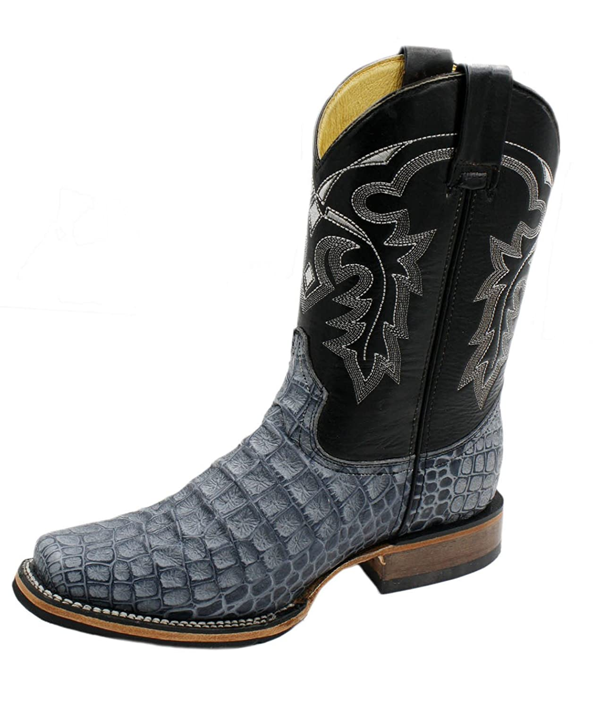 PR Men/'s Genuine Leather Crocodile Print Western Rodeo Cowboy Boots