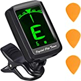 Guitar Tuner, Atmoko Clip-on Tuner for Guitar, Ukulele, Violin,Chromatic, Cavaquinho,Larger LCD Display, Battery & 3 Guitar Picks for Lifetime Use &User Manual Included