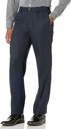 Amazon Essentials Hombre Pantalón de vestir sin pinzas de cintura expansible y ajuste clásico