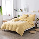 FADFAY Yellow Plaid Duvet Cover Set Twin XL 100% Cotton Soft Grid Bedding Reversible Gingham Checker Bedding with Zipper Clos