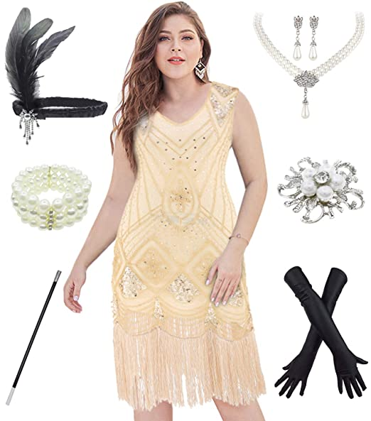 20s Plus Size Glamour Flapper Dresses Costume w/ 1920s Gatsby Accessories  6Pcs Set