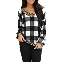 AMCLOS Womens Tops V Neck T-Shirts Swing Ruffle Blouses Button up Tunic Casual Flowy Henley Long Sleeve