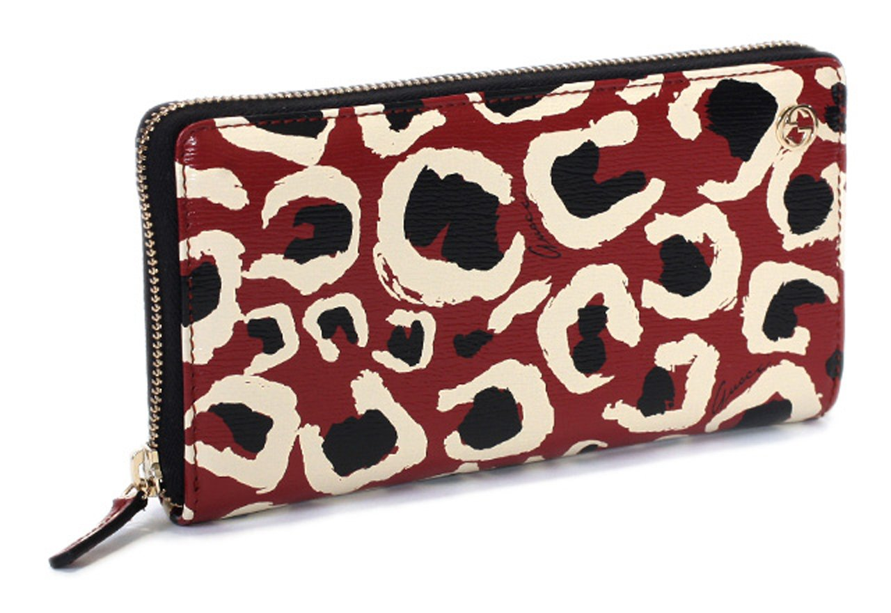 Gucci Leopard Red Black Interlocking Gg Logo Leather Zip Around Wallet