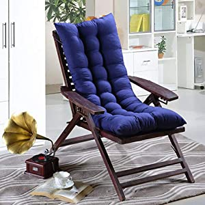 YQ WHJB Rocking Chair Cushion with Ties,Thicken High Back Chair Pad,Solid Color Patio One-Piece Seat Cushions Overstuffed Indoor Outdoor-Blue 45x115cm(18x45inch)