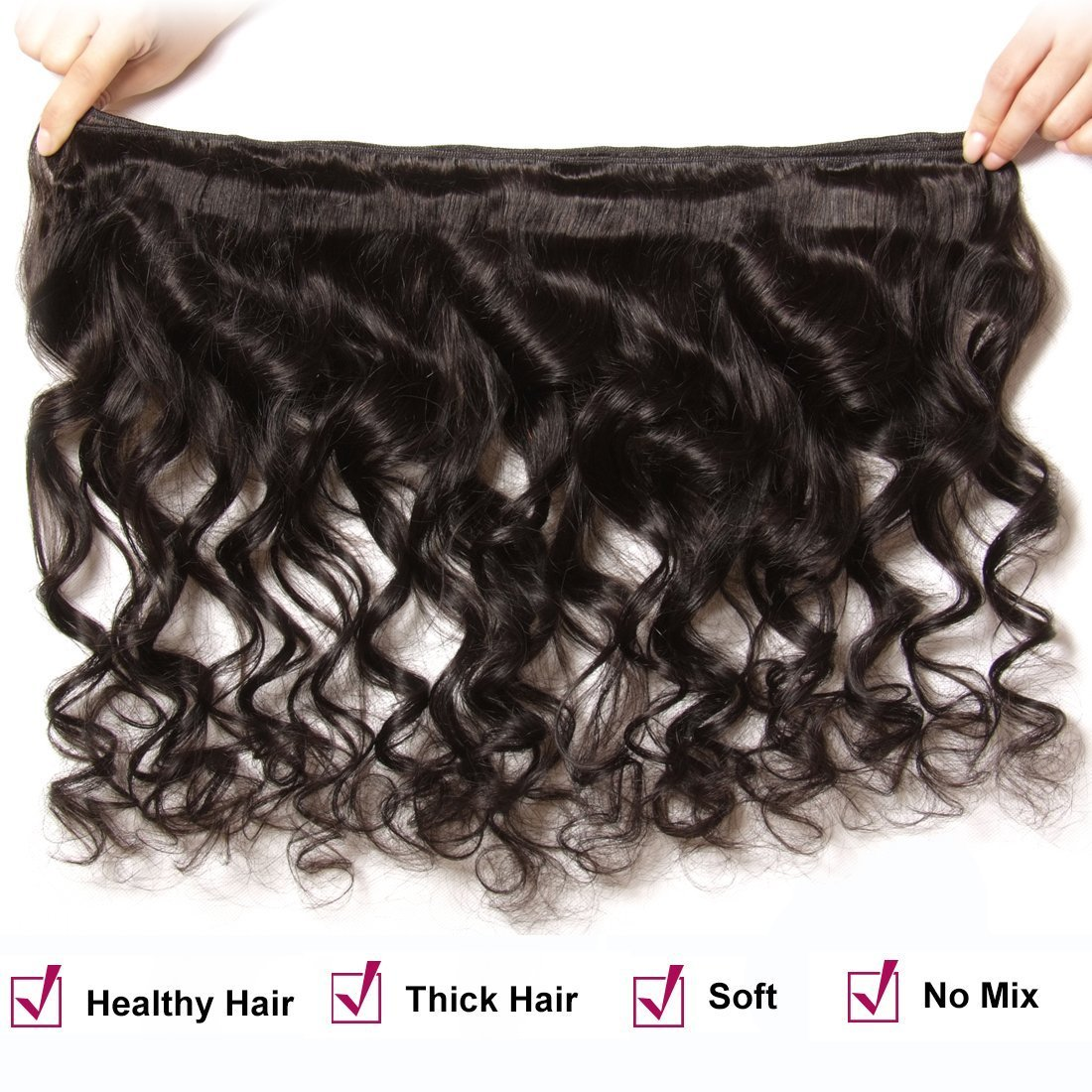 ALI JULIA 8A Brazilian Loose Wave Hair Weave 4 Bundles 100% Unprocessed Virgin Human Hair Weft Extensions 95-100g/pc Natural Color (4PC20 22 24 26) by Yilian (Image #3)