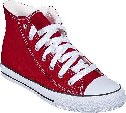 Zapatillas Bota Lona LONETA Tipo Basket Varios Colores Alta Calidad (40, Rojo)