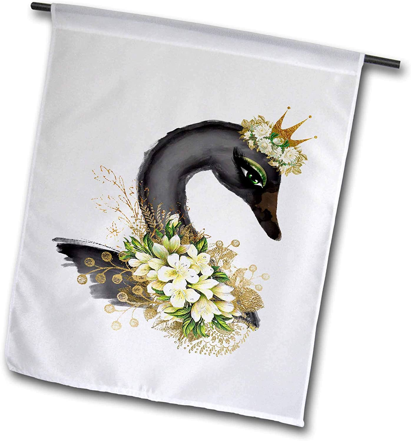 3dRose Anne Marie Baugh - Design - Black Swan Image of Watercolor with Floral Accents Design - 12 x 18 inch Garden Flag (fl_307946_1)