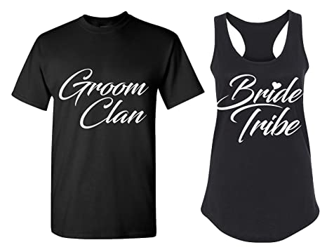 c802ca7526 Bride Tribe and Groom Clan Matching Bachelorette Party T Shirts - Bridal  Tank Tops