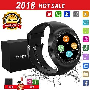 Reloj Inteligente, Smartwatch con SIM/TF Ranura Cámara Reproductor (Black)