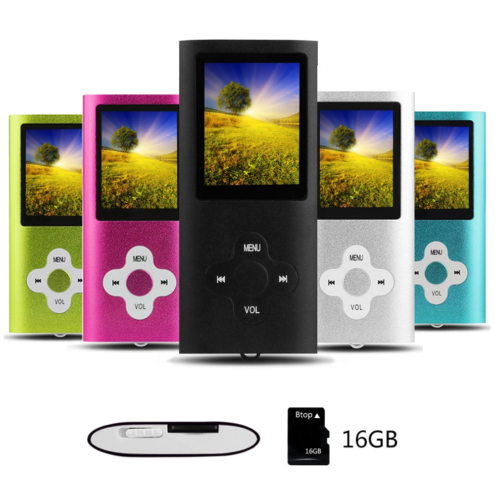 Btopllc Reproductor de MP3 Reproductor de MP4 Reproductor de m/úsica Digital Tarjeta de Memoria Interna de 16GB Reproductor de m/úsica port/átil//Compacto MP3//MP4//Reproductor de Video Verde-Blanco