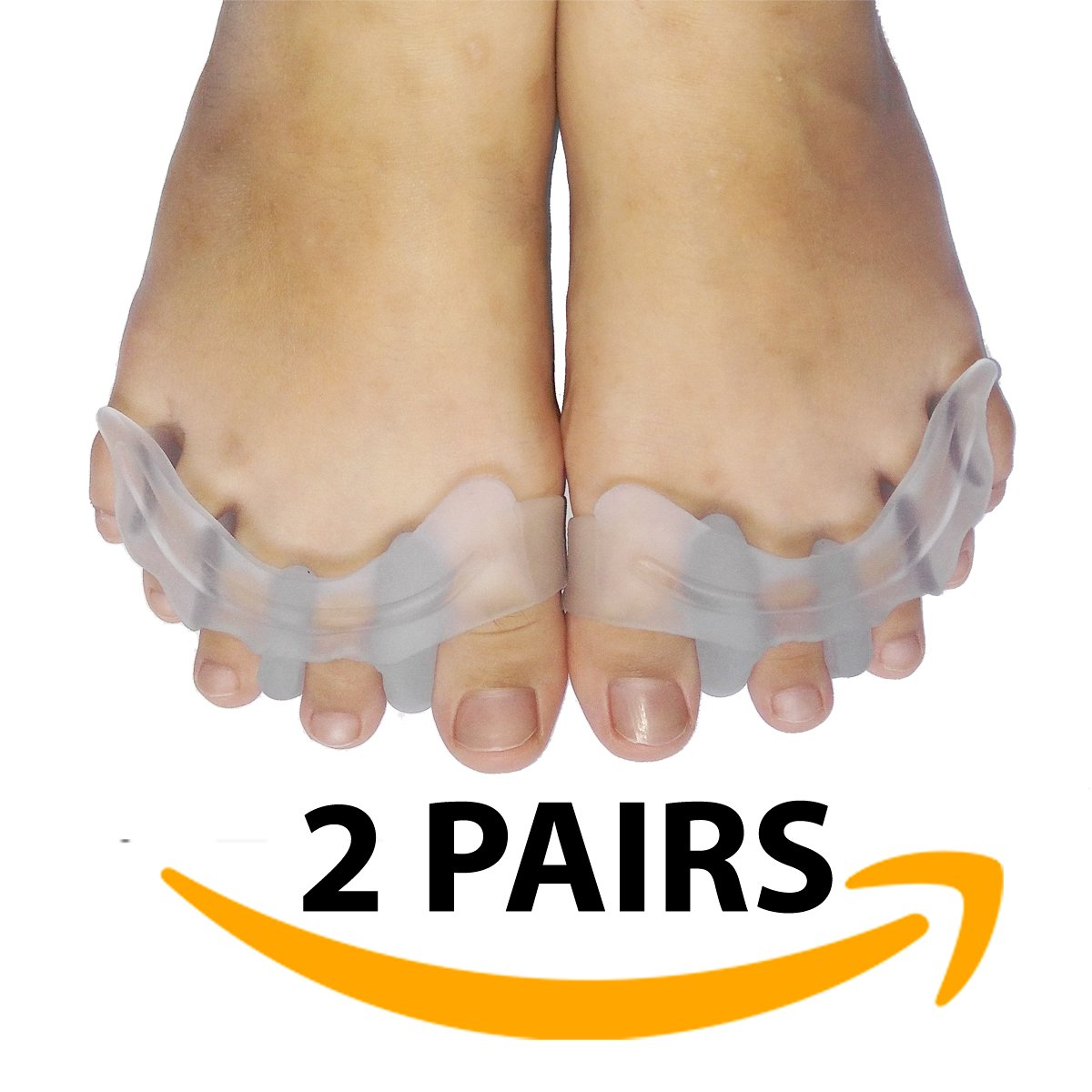 Bunion corrector and toe separators by APASIN, stretchers and straightener alignment foot Spacers, toe Corrector and Protector for men & women easy wear in shoes (2 pairs)