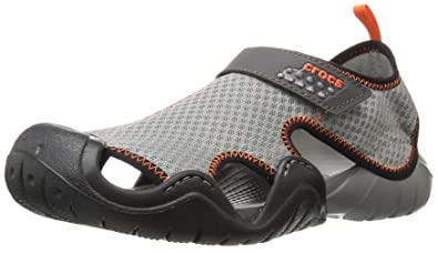 Crocs Men's Swiftwater Flat Sandal, Grey (Smoke/Graphite), 12 UK (